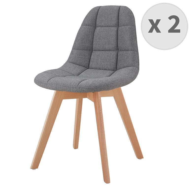 STELLA-Chaise scandinave tissu gris pieds hêtre