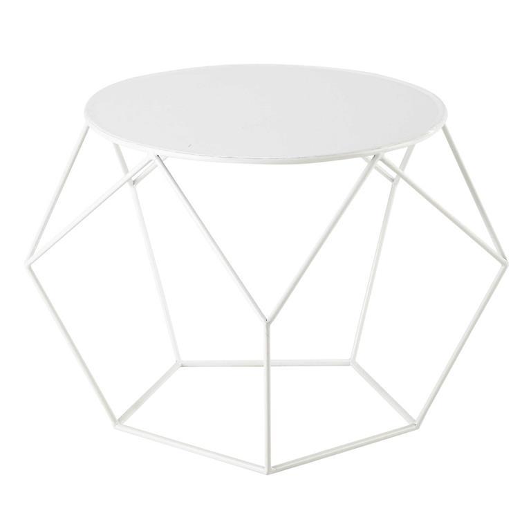 Table basse ronde en métal blanche D 64 cm Prism cbf1bb4172fe