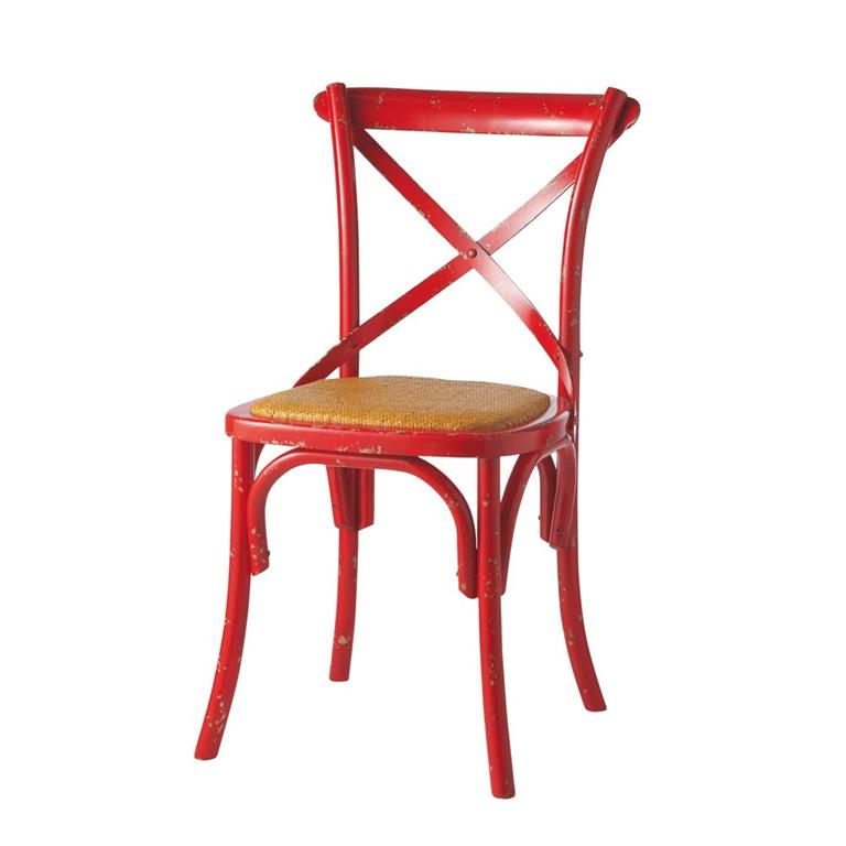 Chaise bistrot en rotin et bouleau rouge Tradition