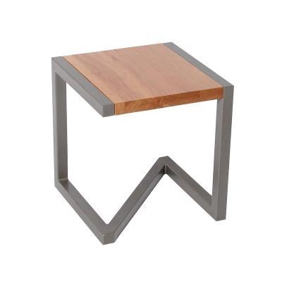 Tabouret design en bois et acier laqué taupe