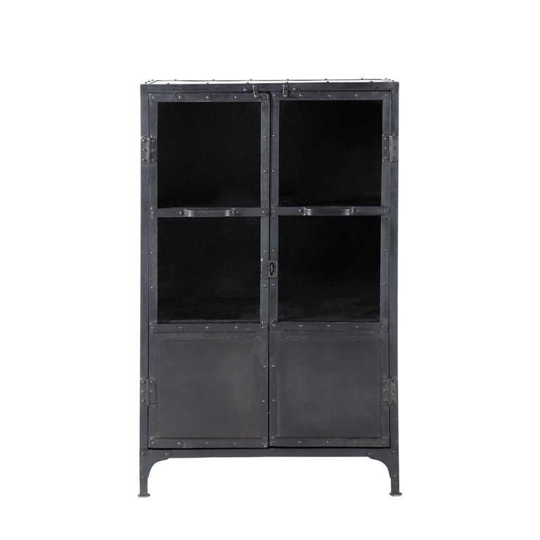 cabinet de rangement vitr indus en m tal noir l 75 cm edison. Black Bedroom Furniture Sets. Home Design Ideas
