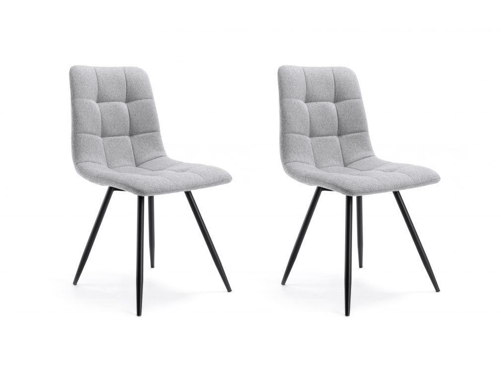 Lot de 2 chaises quadrillées en tissu gris clair