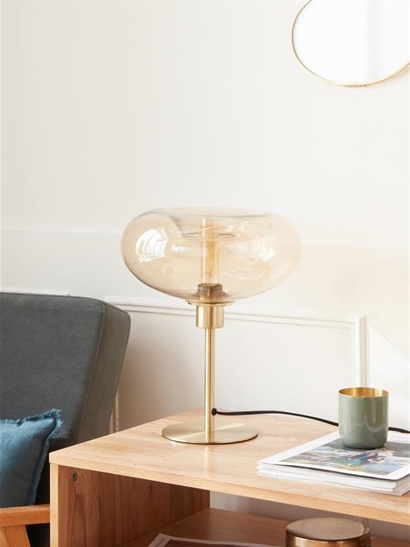 Lampe globe verre et métal marron