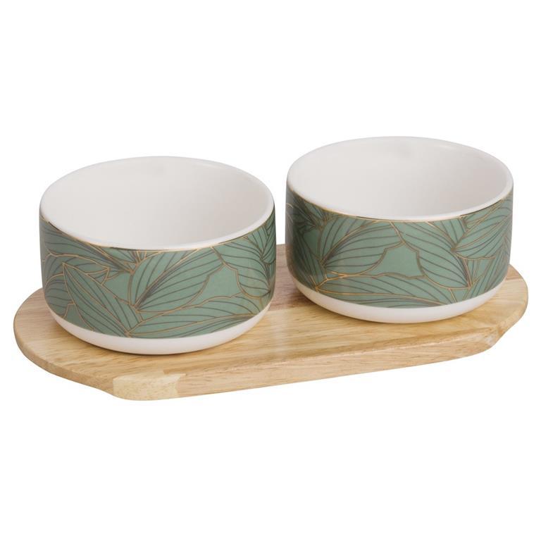 2 bols avec support en porcelaine verte motif feuillage