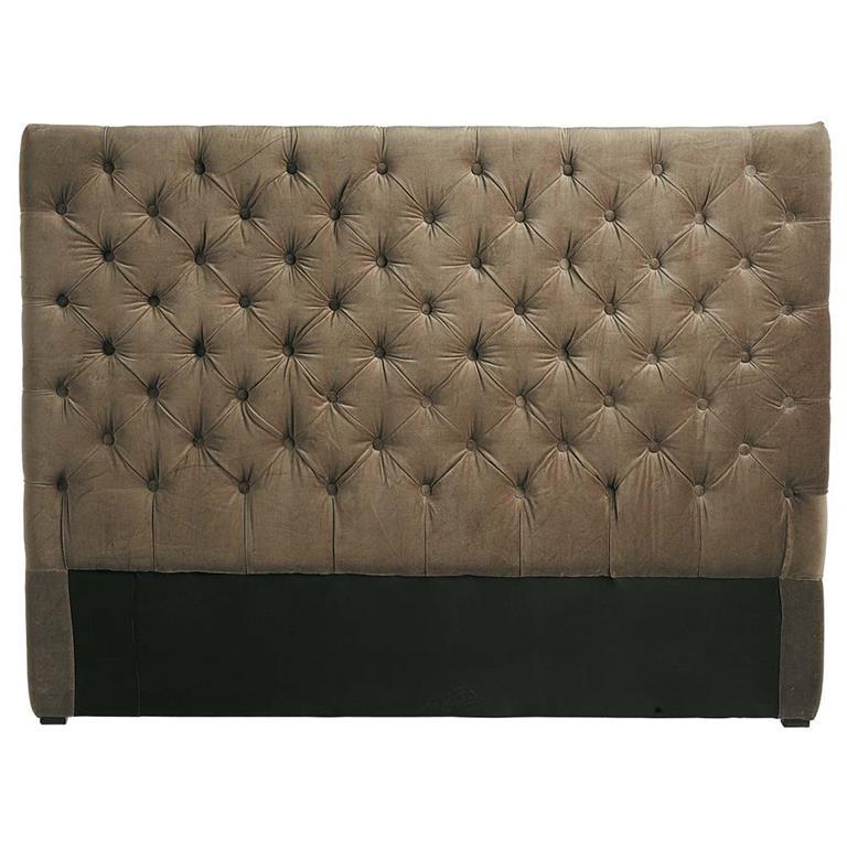Tête de lit capitonnée vintage en velours taupe L 140 cm Chesterfield