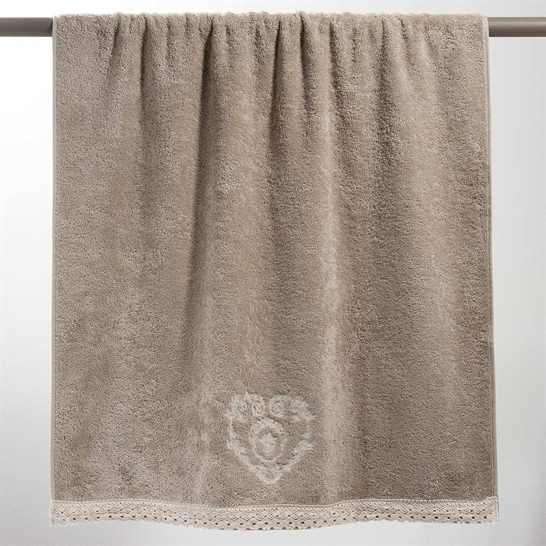 Drap de bain en coton beige 70x140 CAMILLE