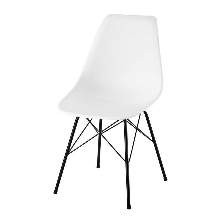 Chaise en polypropylène et métal blanche Cardiff