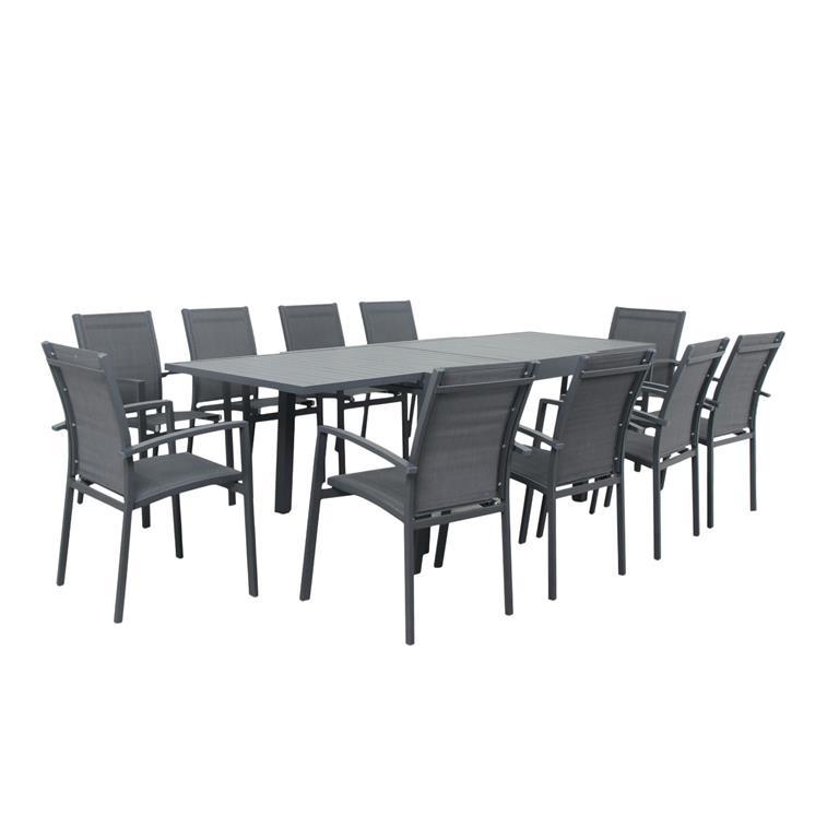Table de jardin 10 places en aluminium anthracite