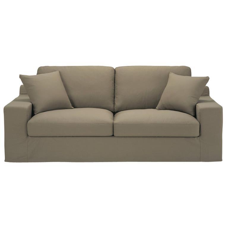 Canapé 3 places en coton taupe Stuart