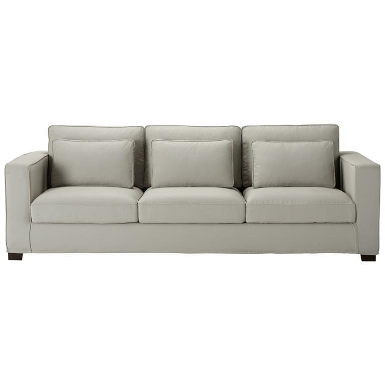 Canapé 4 places en coton gris clair Milano