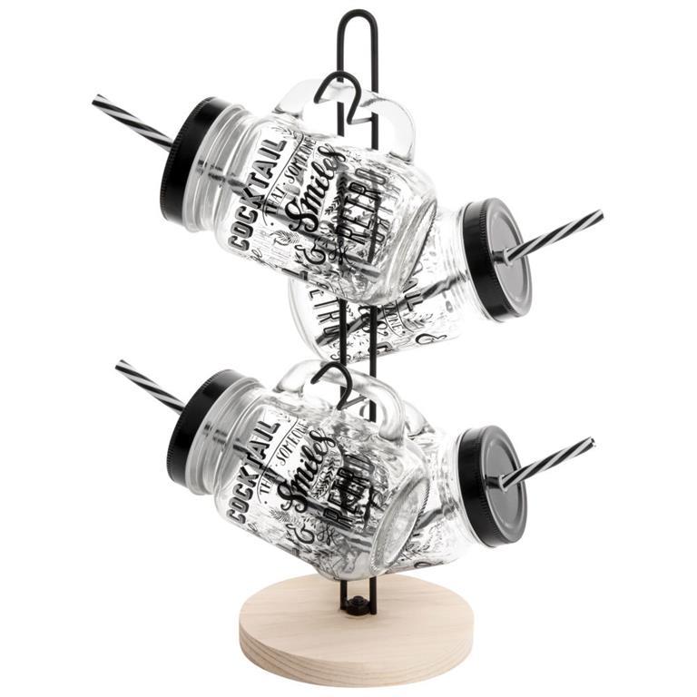 Support en métal et pin avec 4 bocaux en verre imprimé