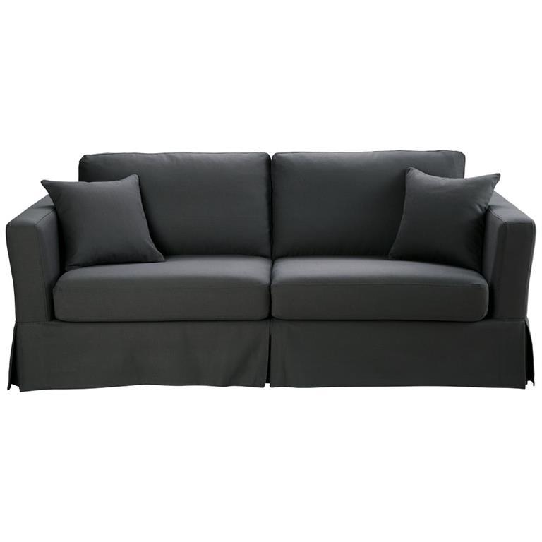 Canapé-lit 3 places en coton gris ardoise Royan