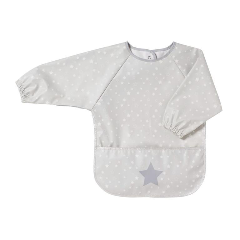 Tablier bébé enduit blanc motifs étoiles grises