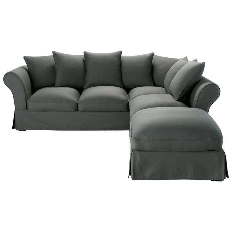 Canapé d'angle convertible 6 places en coton gris ardoise Roma
