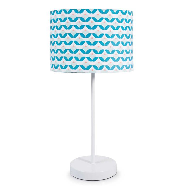 Lampe en métal blanc et abat-jour bleu H 41 cm ICECREAM