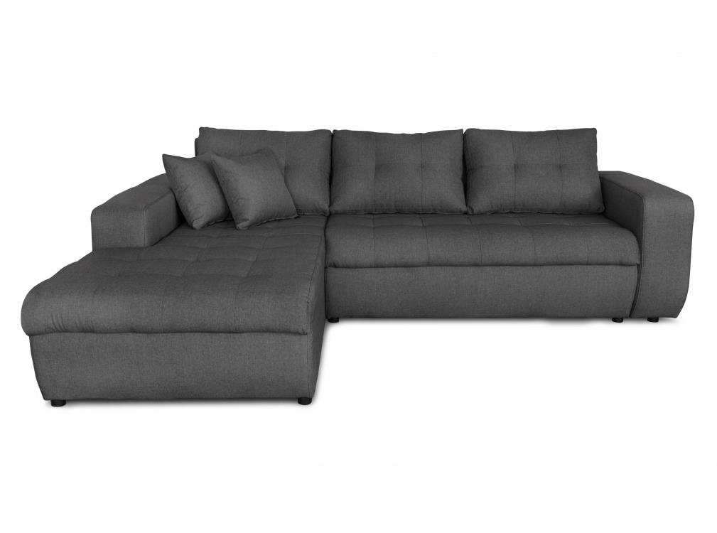 Canapé d'angle gauche convertible en tissu gris foncé