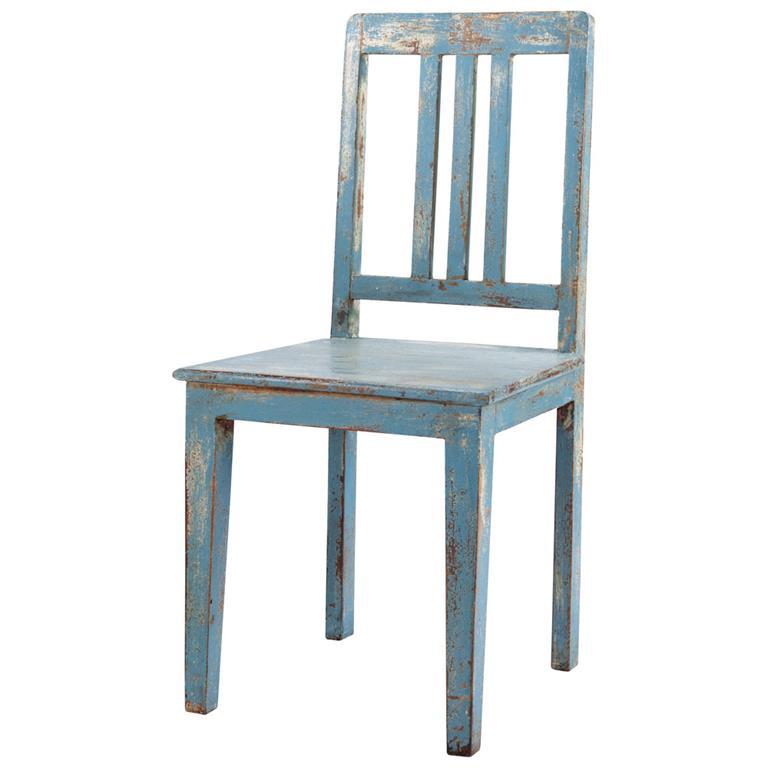 Chaise en manguier bleu grisé effet vieilli Avignon