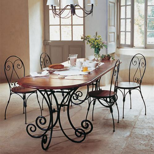 Table console demi-lune en fer forgé et bois de sheesham massif