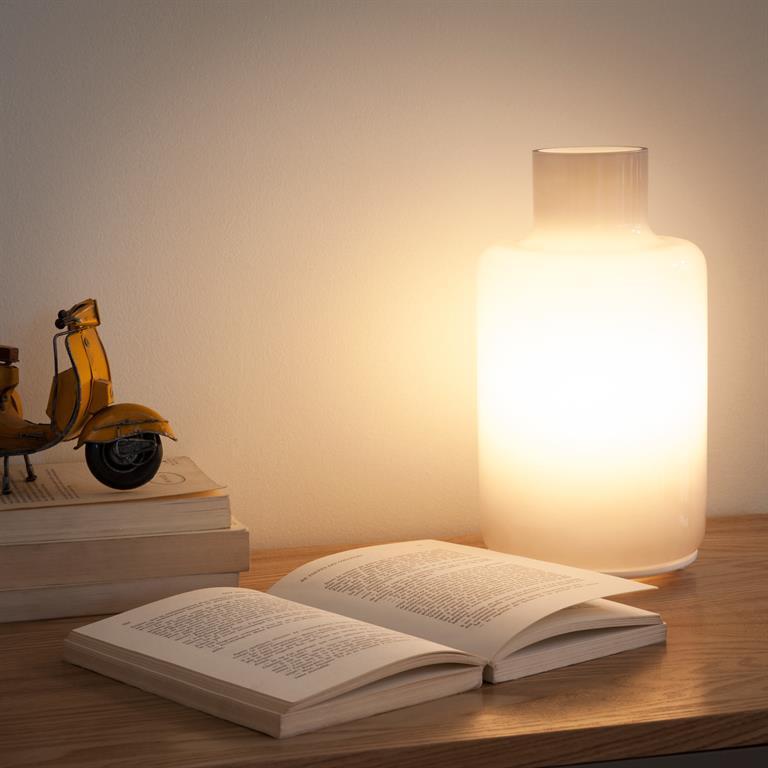 Lampe en verre grise H 28 cm COLOR