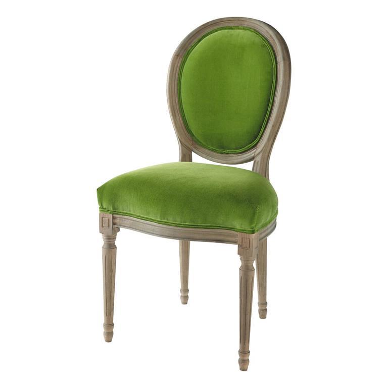 Chaise médaillon en velours et chêne massif verte Louis