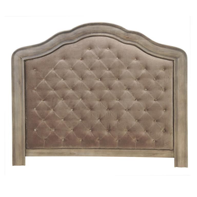 Tête de lit capitonnée en velours taupe L 140 cm Domitille
