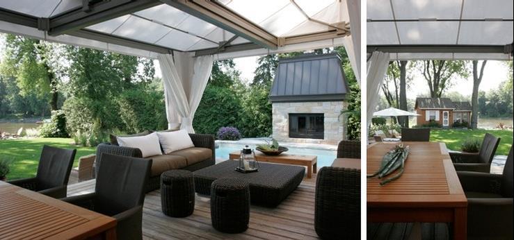Terrasse abrit e avec salon de jardin constitu d 39 une table et de canap s - Salon de jardin sophie ...