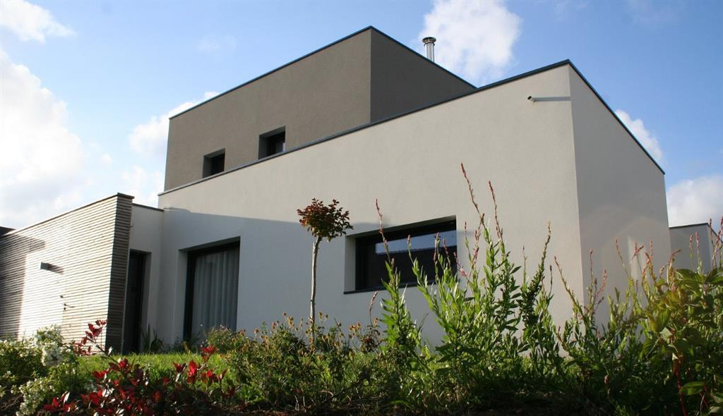 Maison cube moderne grise AM architecture & intérieur
