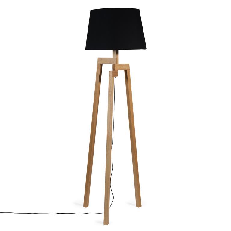 Lampadaire trépied en bois et tissu noir H 150 cm WOODSTOCK