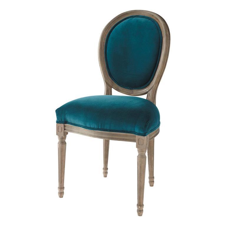 Chaise médaillon en velours et chêne massif bleu canard Louis
