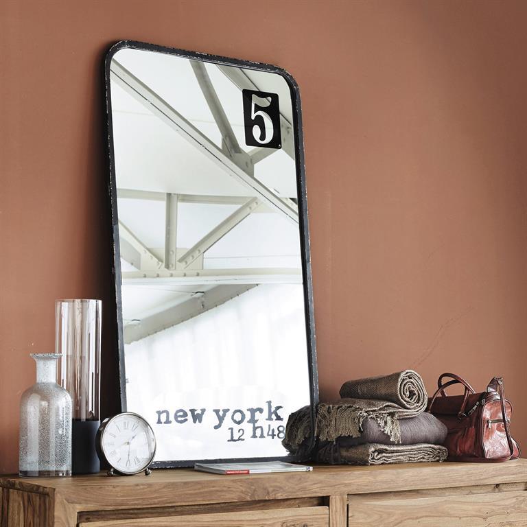 Miroir en métal noir H 120 cm 5TH AVENUE