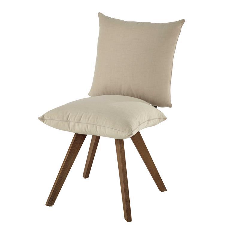Chaise en tissu déperlant et bois écrue Nola