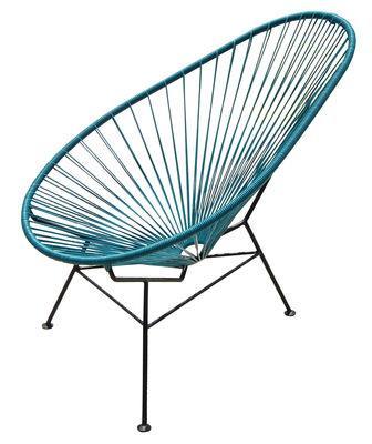 Fauteuil bas Acapulco - OK Design pour Sentou Edition bleu pétrole en métal