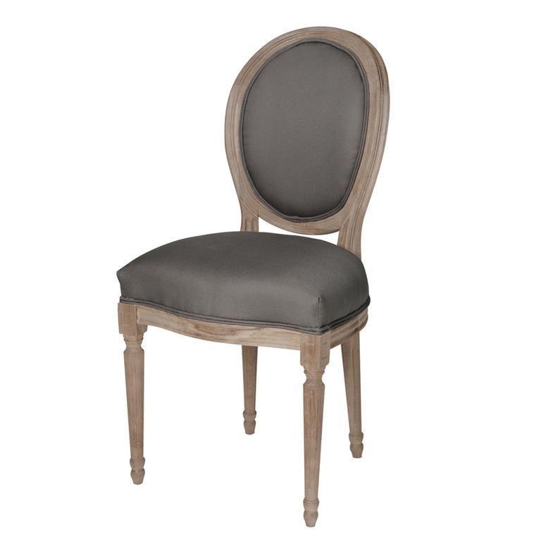 Chaise médaillon en coton et chêne massif grise Louis
