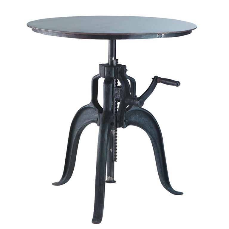 Table à manger bistrot ronde en métal noir 4 personnes D75 Edison