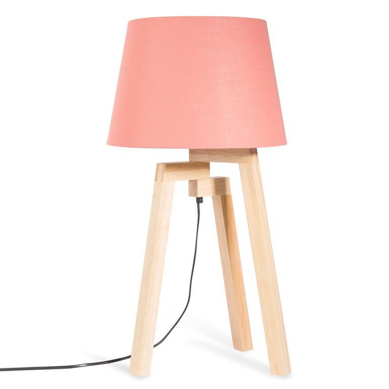 Lampe trépied en bois et abat-jour corail H 57 cm