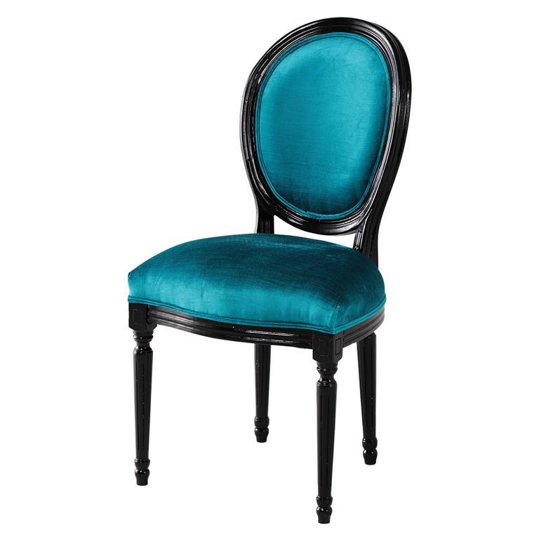 Chaise médaillon en velours bleu et bois noir Louis