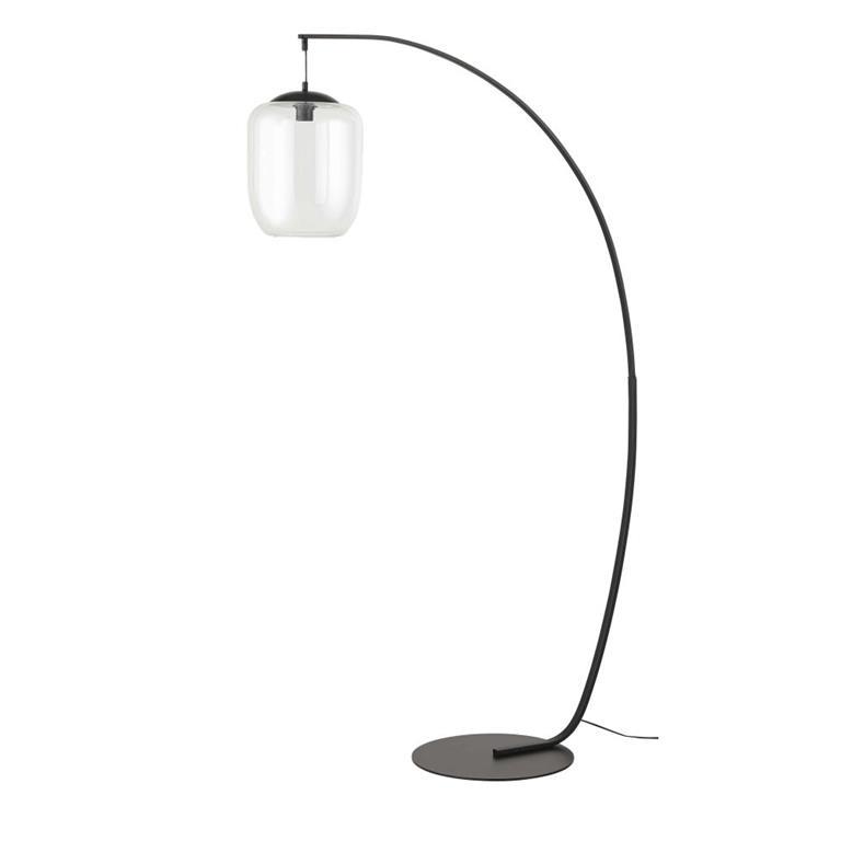 Lampadaire globe en verre irisé et métal noir H174