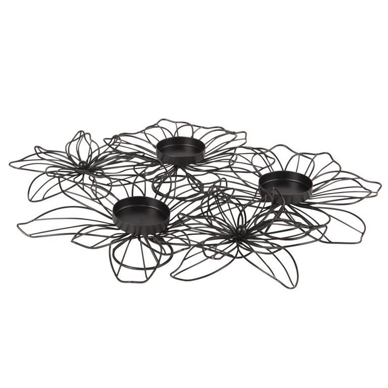 Lumignons composition florale en métal noir
