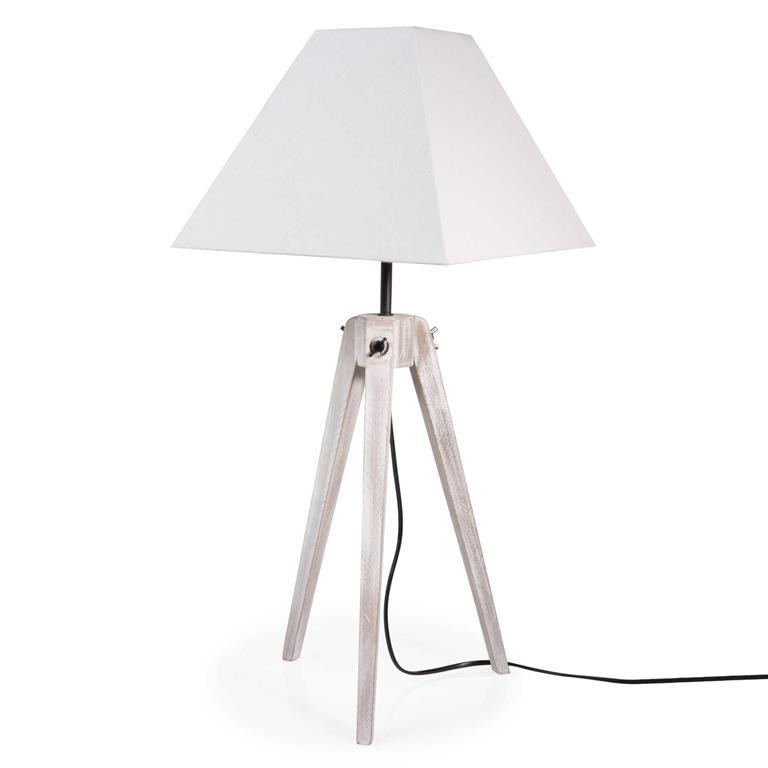 Lampe trépied en bois H 70 cm HOUAT