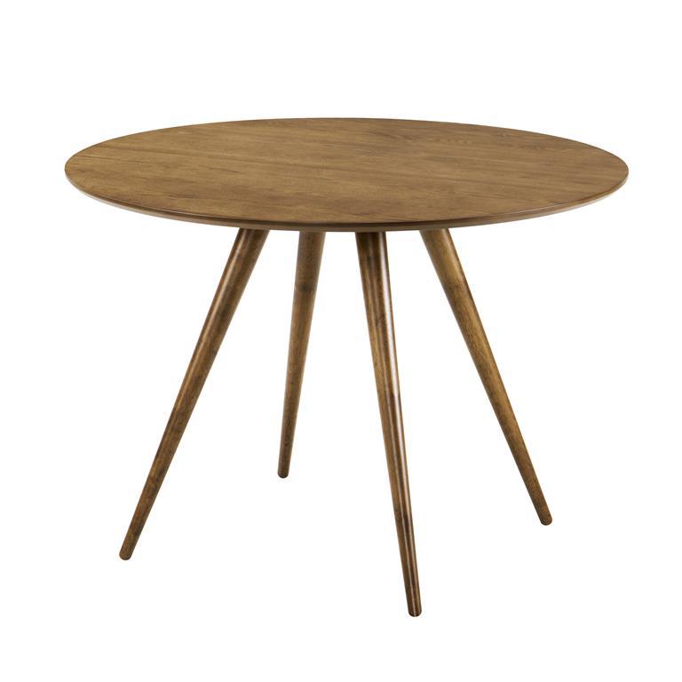 Table à manger ronde en bois foncé
