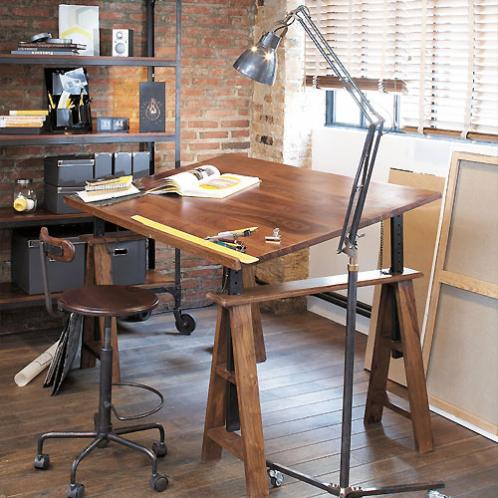 Chaise haute indus à roulettes en bois de sheesham massif et métal Industry