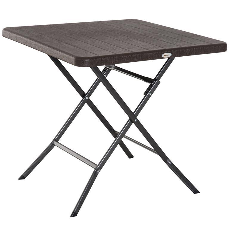 Table de jardin pliable métal époxy imitation bois chocolat
