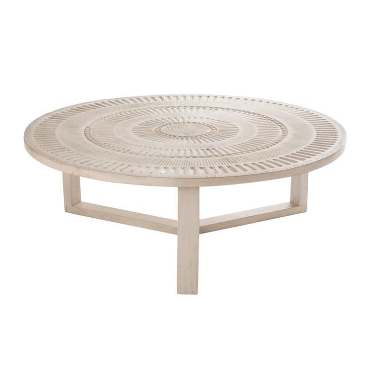 Table Basse Ronde En Manguier Sculpté Abenaki Maisons Du Monde