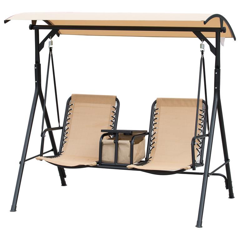 Balancelle de jardin 2 places table avec rangement beige