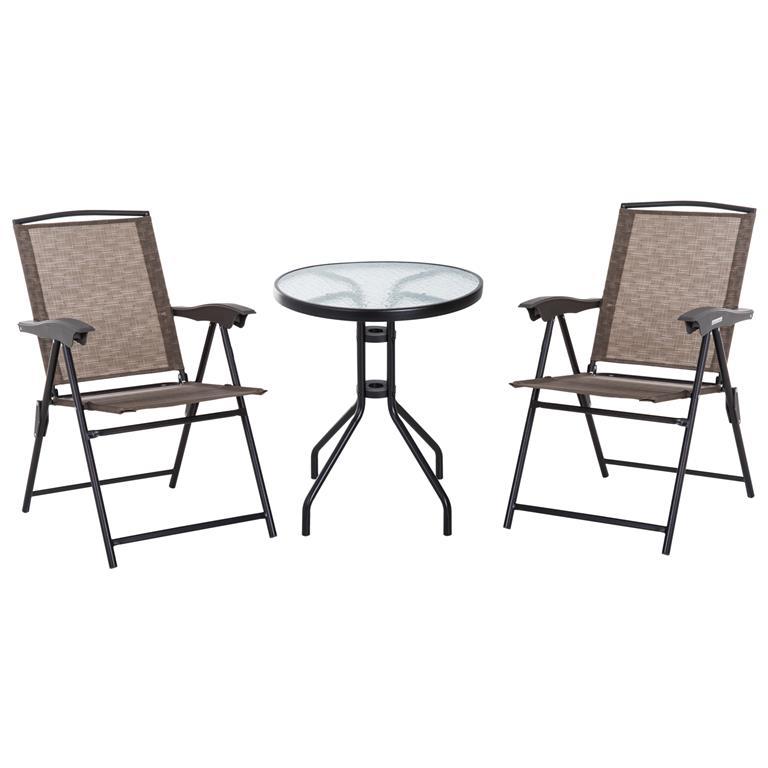 Ensemble de jardin 2 chaises inclinables pliables table ronde choco