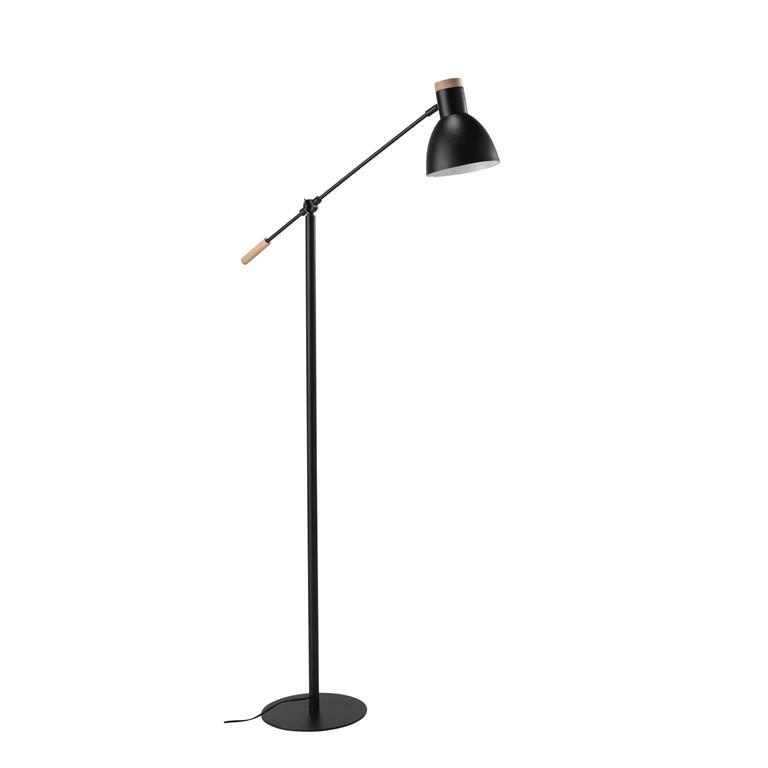 Lampadaire orientable en métal et bois noir H 151 cm STREET