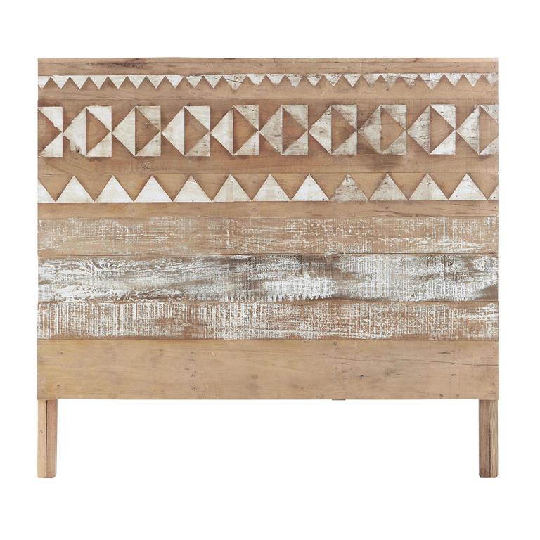 Tête de lit à motifs en bois recyclé L 140 cm Tikka