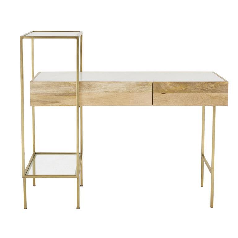 Bureau 2 tiroirs en marbre blanc et métal coloris laiton Connor