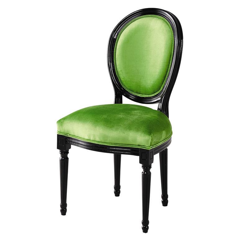 Chaise médaillon en velours vert et bois noir Louis