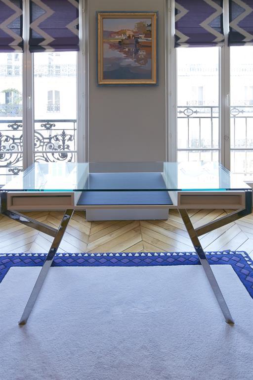 Image Bureau avec rideaux et tapis sur mesure pour coordonner l'ensemble bertille bosset